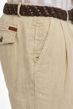 Hemington Erkek Kum Rengi Saf Keten Pileli Pantolon 4