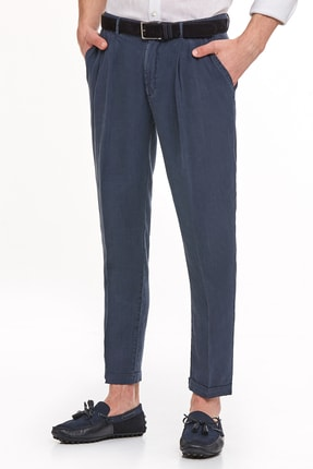 Hemington Erkek Lacivert Saf Keten Pileli Pantolon 0
