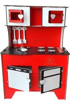 WoodyLife 104 cm Çocuk Odası Ahşap Mutfak Montessori Oyuncak Dolabı Kırmızı Zeytindalı Oyunevi 0