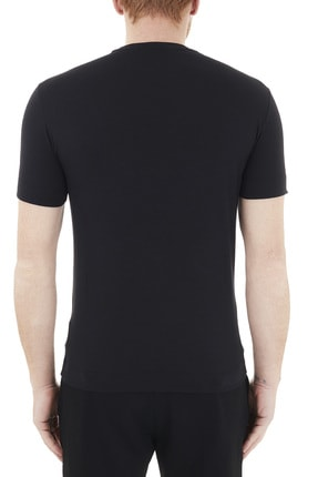 Emporio Armani Erkek Siyah Logo Baskılı Bisiklet Yaka Pamuklu T Shirt 3k1tca 1j11z 0999 1