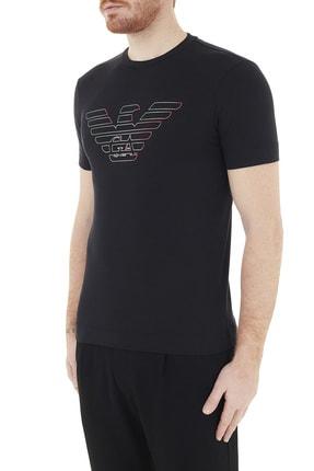 Emporio Armani Erkek Siyah Logo Baskılı Bisiklet Yaka Pamuklu T Shirt 3k1tca 1j11z 0999 2