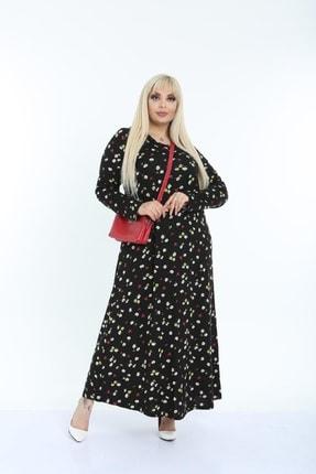 Şirin Butik Kadın Siyah Papatya Desenli Yaka Pervazlı Viskon Elbise 2