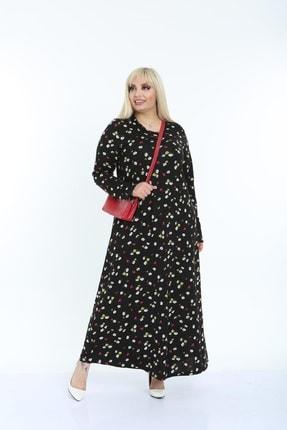 Şirin Butik Kadın Siyah Papatya Desenli Yaka Pervazlı Viskon Elbise 3