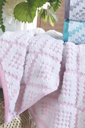 Riva 3d Carpet Jakarlı %100 Pamuk 4 Lü El Ve Yüz Havlu Seti 4