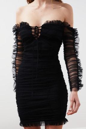 TRENDYOLMİLLA Siyah Drapeli Tül Elbise TPRSS20EL0800 2