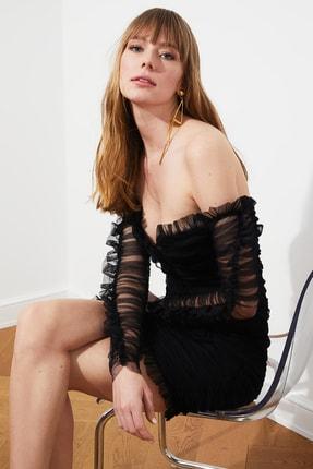 TRENDYOLMİLLA Siyah Drapeli Tül Elbise TPRSS20EL0800 3