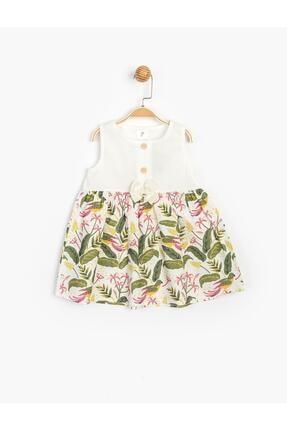Panolino Kız Çocuk Ekru Askılı Önden Düğmeli Pamuklu Elbise 2