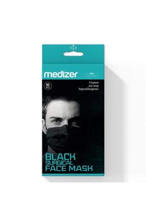 Sabomar Medizer Full Ultrasonik Cerrahi Ağız Maskesi 3 Katlı Spunbond Kumaş 10'lu 3 Kutu -burun Telli -siyah 4