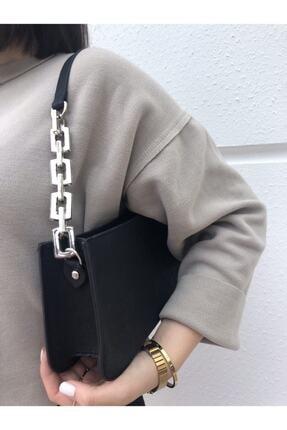 hanbag Kadın Siyah Zincir Detaylı Baget Çanta 1
