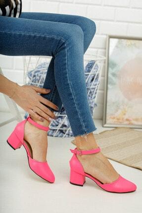 MERVE BAŞ ® Pembe Cilt Bilekten Tek Bant Kalın Topuklu Klasik Ayakkabı 1