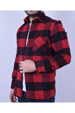 Otto Moda Erkek Kırmızı Oduncu Gömlek 0