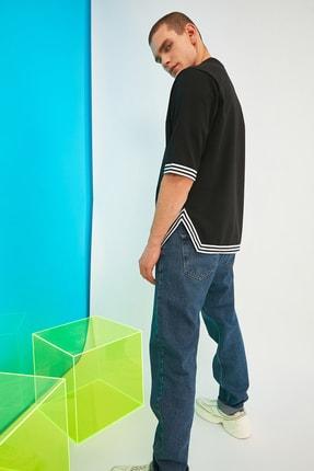 TRENDYOL MAN Siyah Erkek Oversize Şerit Detaylı Sweatshirt TMNSS21SW0243 2