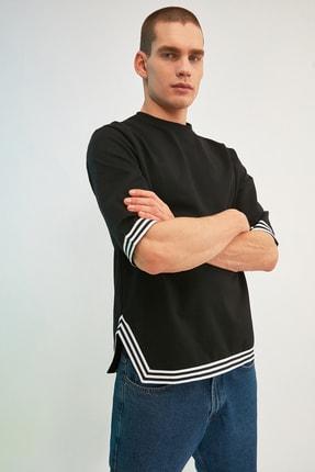 TRENDYOL MAN Siyah Erkek Oversize Şerit Detaylı Sweatshirt TMNSS21SW0243 3