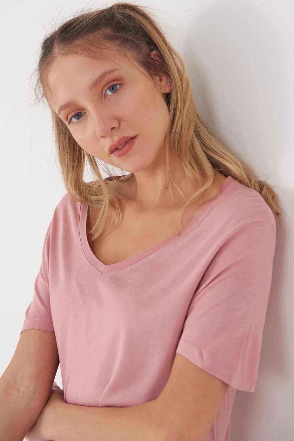 Addax Kadın Pudra V Yaka T-Shirt B0225 - L7 - L8 Adx-00008886 2