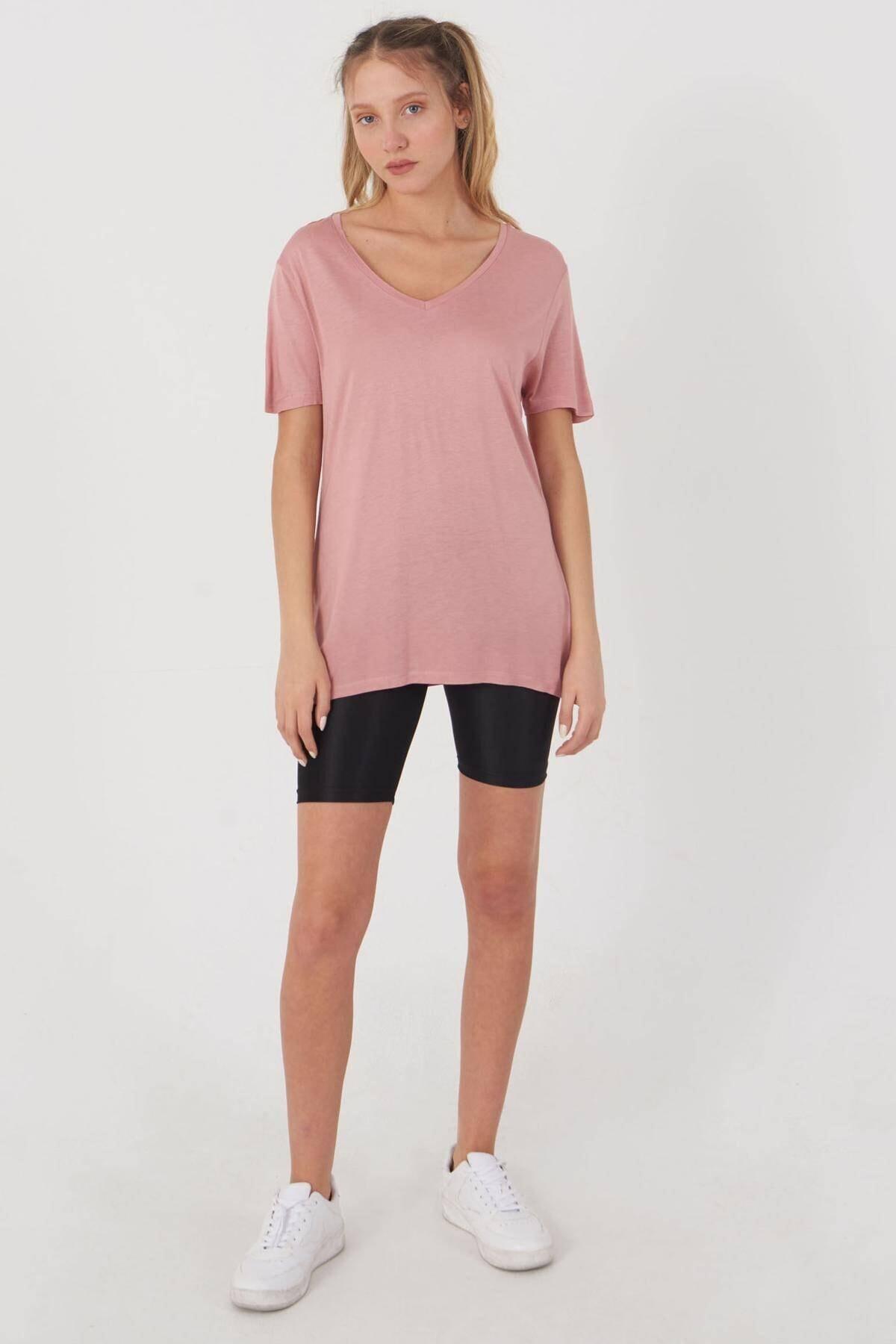 Addax Kadın Pudra V Yaka T-Shirt B0225 - L7 - L8 Adx-00008886 3