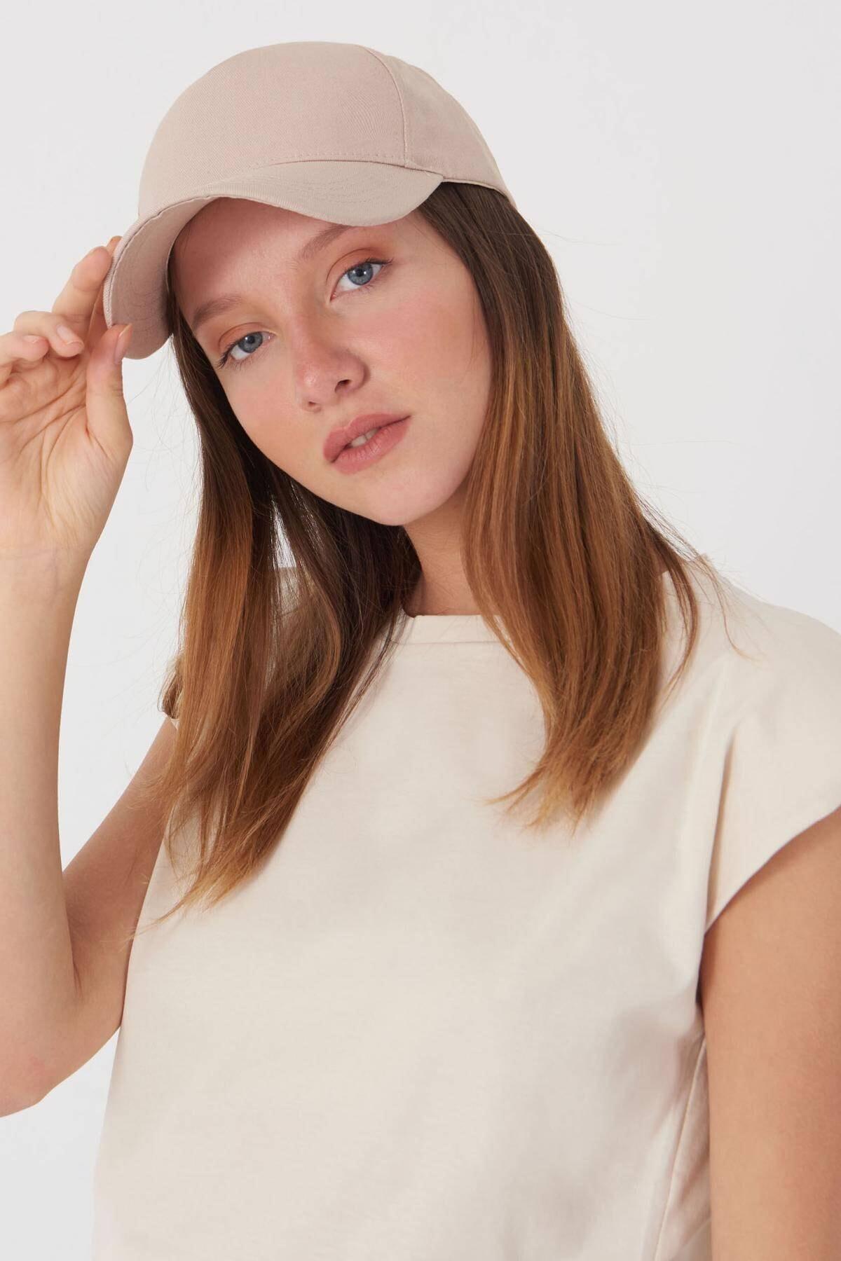 Addax Kadın Bej Unisex Şapka Şpk1007 - F1 Adx-0000022027 2