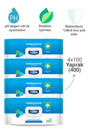 Deep Fresh Antibakteriyel Islak Mendil 4 X 100 Yaprak 2