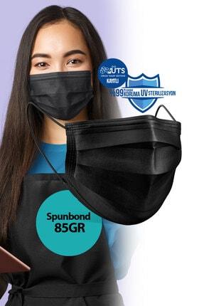 Sabomar Medizer Siyah Burun Telli  Full Ultrasonik Cerrahi Ağız Maskesi 3 Katlı Spunbond Kumaş 50 Adet 2