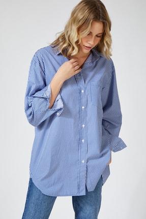 Happiness İst. Kadın Orta Mavi Çizgili Pamuklu Oversize Poplin Gömlek  FN02637 1