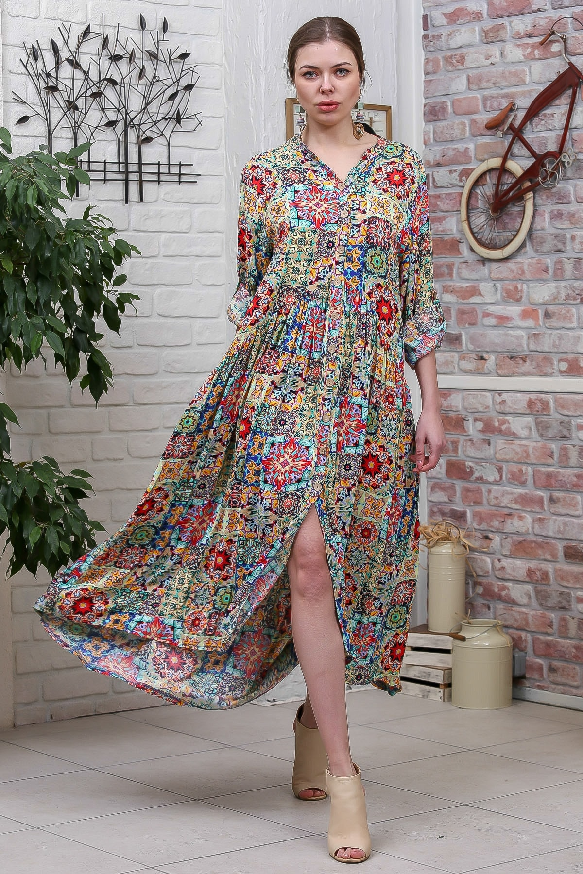 Chiccy Kadın Yeşil  Bohem Ottoman Desenli Ahşap Düğmeli Büzgülü Salaş Elbise M10160000EL95584 0