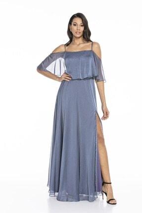 Abiye Sarayı Kadın Mavi Askılı Yırtmaç Detaylı Şifon Elbise 0