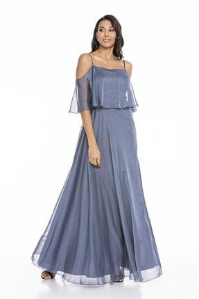 Abiye Sarayı Kadın Mavi Askılı Yırtmaç Detaylı Şifon Elbise 2