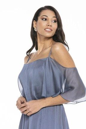 Abiye Sarayı Kadın Mavi Askılı Yırtmaç Detaylı Şifon Elbise 4