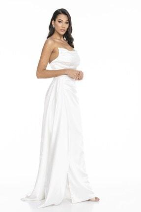 Abiye Sarayı Kadın Beyaz Straplez Yırtmaçlı Saten Abiye Elbise 1