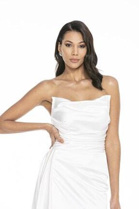 Abiye Sarayı Kadın Beyaz Straplez Yırtmaçlı Saten Abiye Elbise 2