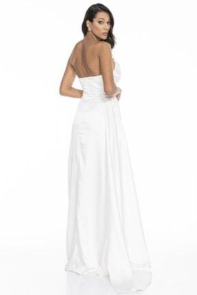 Abiye Sarayı Kadın Beyaz Straplez Yırtmaçlı Saten Abiye Elbise 3