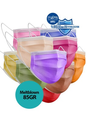 Sabomar Medizer Color Serisi Renkli Full Ultrasonik Cerrahi Ağız Maskesi 3 Katlı 10'lu 3 Kutu - Burun Telli 1