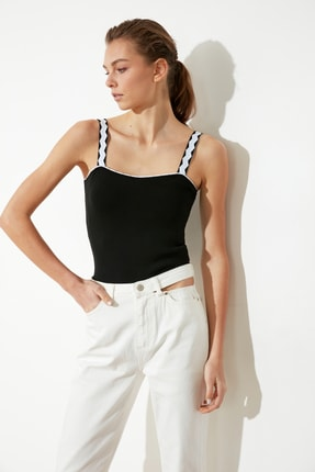 TRENDYOLMİLLA Siyah Askılı Triko Bluz TWOSS21BZ0107 1