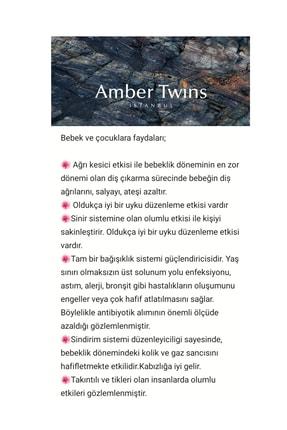 AmberTwins by KehribarBurada Glt Sertifikalı Turkuaz Filli Kehribar Bebek Kolye - 32 Cm 2