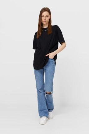 Stradivarius Kadın Siyah Uzun Basic T-shirt 4