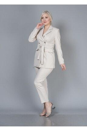 Alta Moda Kadın Krem Double Kumaş Ikili Takım Ceket Pantolon 2