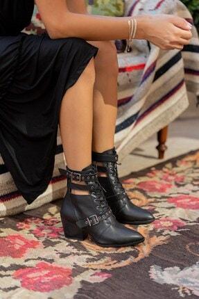 LuviShoes 1717 Siyah Mat Kadın Bot 3