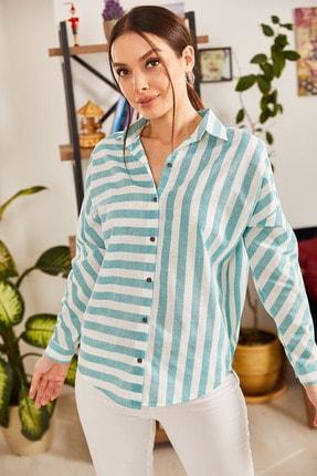 armonika Kadın Mint Çizgili Salaş Gömlek ARM-21K001034 1