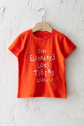 LC Waikiki Erkek Bebek Canlı Turuncu Grm T-Shirt 0