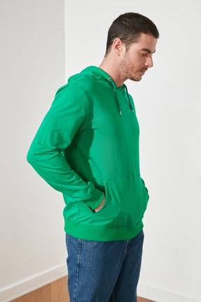 TRENDYOL MAN Zümrüt Yeşili Erkek Regular Fit Kapüşonlu Kanguru Cepli Uzun Kollu Sweatshirt TMNAW20SW0162 3