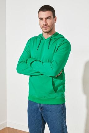 TRENDYOL MAN Zümrüt Yeşili Erkek Regular Fit Kapüşonlu Kanguru Cepli Uzun Kollu Sweatshirt TMNAW20SW0162 1