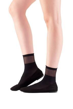 EMINNA Kadın Siyah Transparan Bilekli Soket Çorap 0