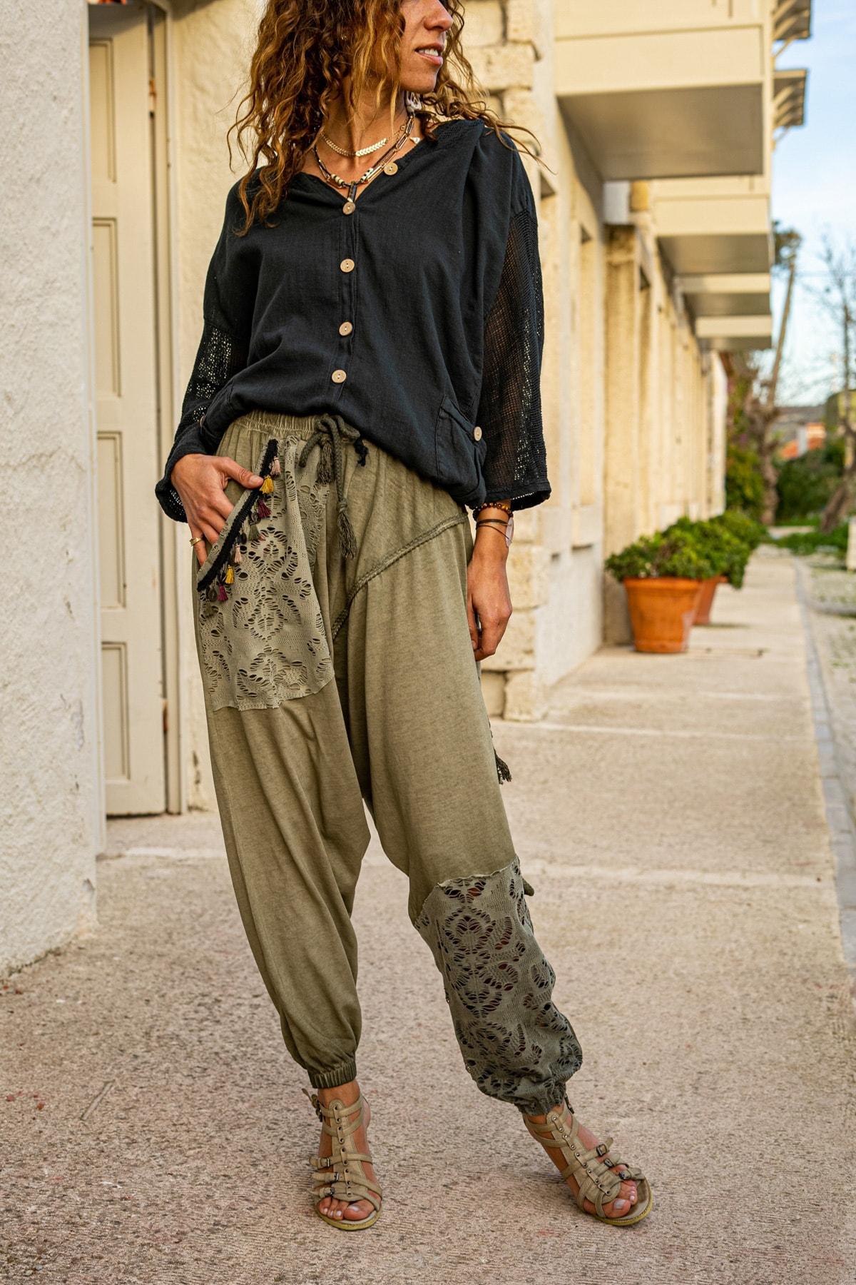 Güneşkızı Kadın Haki Yıkamalı Püsküllü Ajur Detaylı Şalvar Pantolon GK-RSD2024 0