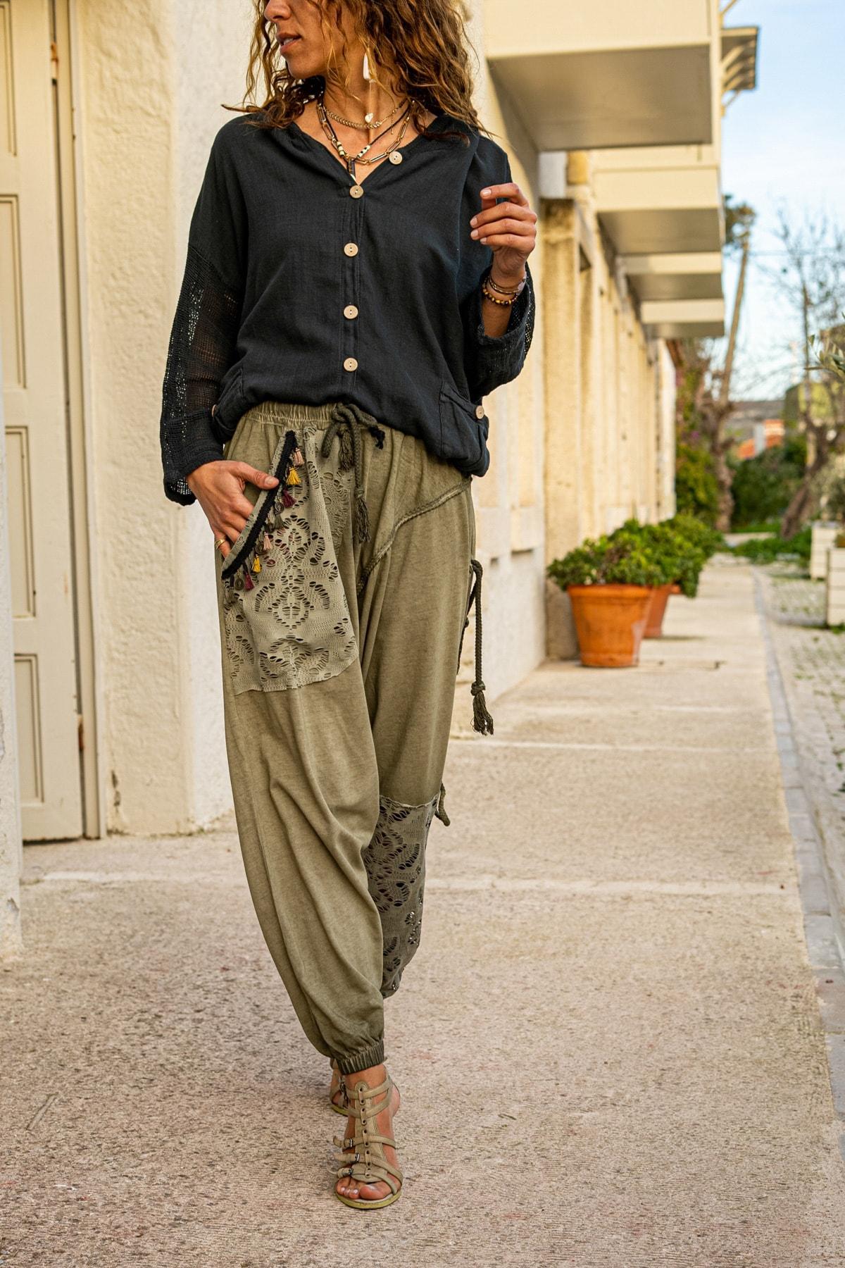 Güneşkızı Kadın Haki Yıkamalı Püsküllü Ajur Detaylı Şalvar Pantolon GK-RSD2024 2