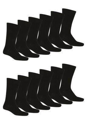Star Socks 12 Li Erkek 4 Mevsim Pamuklu Siyah Soket Çorap 0