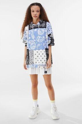 Bershka Kadın Mavi Kapüşonlu Sweatshirt 3
