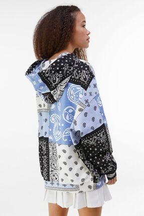 Bershka Kadın Mavi Kapüşonlu Sweatshirt 1