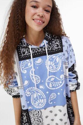 Bershka Kadın Mavi Kapüşonlu Sweatshirt 2