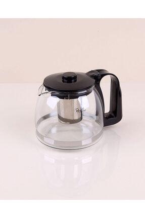 Perotti - Sefa Siyah Cam Demlik 1,25 Litre Çelik Süzgeçli 0