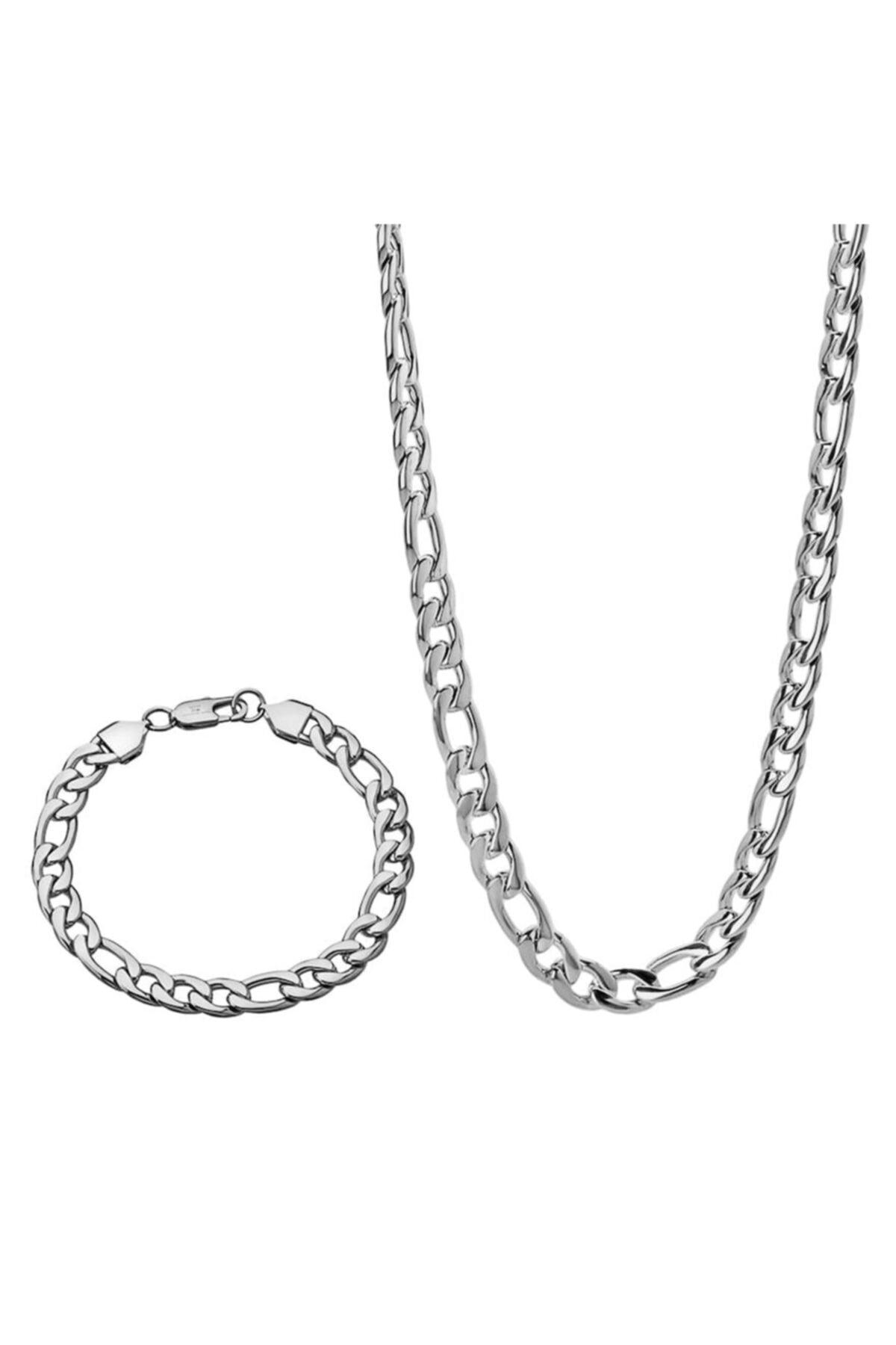Encili Silver 925 Ayar Gümüş Erkek Figaro Zincir Kolye 55 Cm Ve Bileklik Set