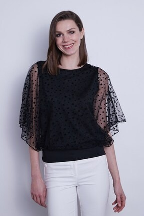 Jument Kadın Organze Desenli Tül Detaylı Kayık Yaka Yarasa Kol Bluz-Siyah Puan 0